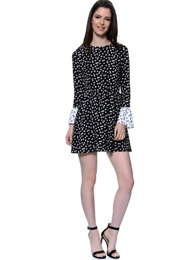 As By Anne Smith İspanyol Kol Desenli Mini Elbise Siyah